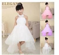 mesh ribbon - elegant baby girl cute asymmetric halterneck solid mesh long tail flower girl dress tutu wedding party backless trailing ball gown dress