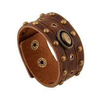 Wholesale New Arrival Men Bracelet Personalized Width Leather Bracelet Retro Bracelets for Women Men Jewelry Rivets Bracelet Leather