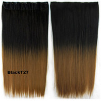 Wholesale 5 clips in Hairpieces straight synthetic Dip Dye ombre hairpieces two tone hair extension colors available