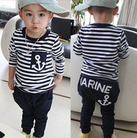 anchor tshirts - Boys Girls Baby Childrens Clothing Cotton Striped Anchor tshirts Pants Suits Jumpers Toddler Cartoon Kids Clothes Boutique Clothing Set