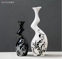 bar vase - 2 Black and white minimalist ceramic vase home decoration Profiled ornaments Creative TV bar desktop ceramic crafts Two sets florero