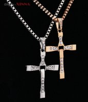 Wholesale Fast and Furious Movie Dominic Toretto Rhinestone Classic Male Cross Crystal Pendant Chain Necklace Men Jewelry