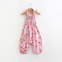 Wholesale 2016 Baby Girls Cotton Cartoon Rompers Kids Girl Flower Jumpsuits with Headbands Babies Korean Style Clothes Children s Clothing TL165