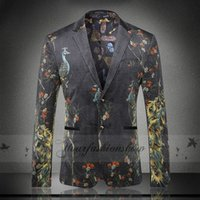 animal blazer - Men s Blazers peacock blazer for men suit autumn and winter high quality men s velor Married suit plus blazer slim man outwear jacket M161