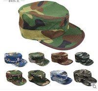 Wholesale Men s women s camouflage print outdoor sports travel riding climbing hiking camping flat top snapbacks trucker hats peaked caps