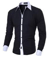Wholesale 2016 New Fashion Casual Men Shirt Long Sleeve Elastic Slim Fit Black Shirt Men Solid Color Mens Dress Shirts Men Clothes XXL