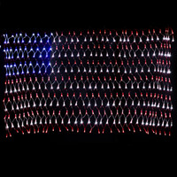 Wholesale YULIANG Led flag net light of the American V For festival and holiday decoration National flag led fishing net light christmas lights