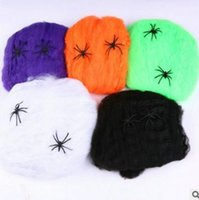 Wholesale Spider Webs Interesting Multicolor Halloween Haunted House Prop Decoration Supplies Stretchable Spider Web Spider Cotton Decorations