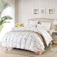 beige down comforter - Svetanya brief luxury quilting Duvet winter Comforter duck goose Down Quilt solid color linens Single Queen King Size Blanket