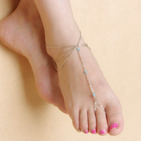 Wholesale Boho Ethnic Turquoise Beads Barefoot Sandal Anklet Chic Multilayer Tassel Foot Chain Anklet Bracelet Body Jewelry For Women Cheap