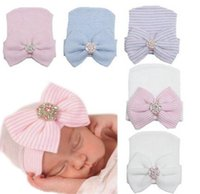 Wholesale Newborn Baby Cute and Pretty Beanie Hat With Big Bow Baby Infant Girl Soft Warm Hospital Hat Cap for Month