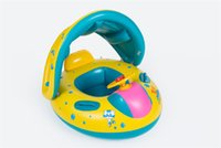 bath sun - Summer Water Fun Sun Protection Float Inflatable PVC Animal Swimming Ring With Trumpet Kids Toys Swimming Pool Toys Water Yacht Baby Toys