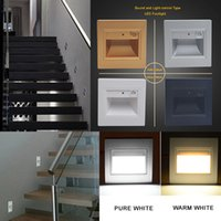 Wholesale LED Wall Recessed Voice and Light Stairs Step Footlights Pathway Porch Aisle Night Footlight Lamps W
