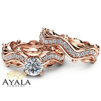Wholesale 14K Rose Gold Leaf Engagement Rings Nature Inspired Diamond Ring Set