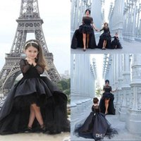 Girl Bow Taffeta 2016 Black High Low Flower Girls Dresses Jewel Long Sleeves Pageant Gowns for Teens Kids Formal Wear Birthday Party Communion Dresses