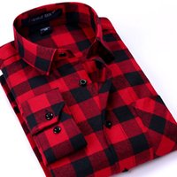 Wholesale Brand Men Plaid Shirts New Casual Long Sleeve Flannel Cotton Business Fashion Dress Warm Shirts Leisure Styles Man Clothes