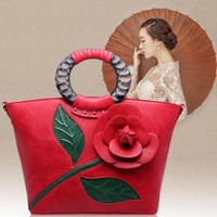 alice designer - 2016 Alice Rose New Classic Leather Brand Handbag With Flowers China Folk Style Lady Shoulder bag Designer Handbags High Quality