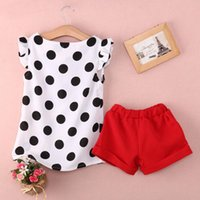 Cheap 2016 2PCS Baby Kids Girls Clothing set Polka Dot Tops Shirt Red Shorts Outfits Casual
