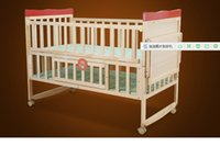 Wholesale Solid wood game baby bed wooden bed crib crib baby bed with roller the game bed can be folded