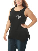 asymmetrical hem tunic - Women s Casual Apparel Plus Size Asymmetrical Hem Letter Pocket Tunic Tank Top Black Available for Shipment Exclusively within the U S