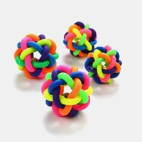 Wholesale rainbow Colorful Puppy Rubber Bell Sound Ball Dog Cat Pet Fun Playing Toy