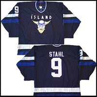 Cheap Customized Mighty Ducks 2 Movie Rare Island Jerseys NWOT Gunnar Stahl Iceland Hockey Jersey Navy Blue Name and Number Stitched