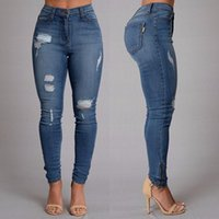 Wholesale sexy fashion new style jeans Full Length Mid waist Ripped jeans Skinny for women s jeans