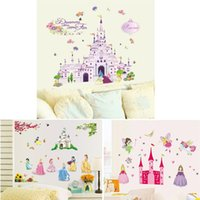 baby girl wall decal - 100pcs AY833 ZY5102 Y009 Princess Castle girls room decals Princess Kids room nursery wall sticker home decals baby room home decoration