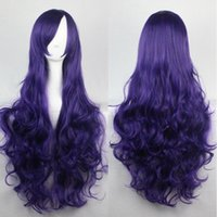 average hand temperature - Ms wig new purple long curly wig CM high temperature wire curls movement multicolor party wig festival party wigs Cosplay Wig