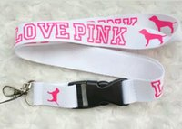 badge apple - New Popular LOVE PINK Lanyard White Pink Key Chain ID Badge DETACHABLE