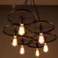 Wholesale light up lip gloss LOFT Metal Wheel Pendant Light Vintage Industrial Lighting American Aisle Lights Lamp V V