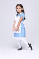alice rabbit costume - Halloween Costumes Alice in the Wonderland Dress for kids Cotton Maid Dress Cosplay Apron Dress costume Rabbit Cartoon Anime dress