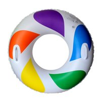 Wholesale Lightweight Swimming Tubes Water Circle Raft Inflatable Ring Rainbow Air Float Summer Adult Swim Ring JF0026