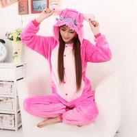 adult footie pajamas - Unisex Adult Flannel Pajamas Sets Cosplay Costumes Cartoon Animal Onesie footie Pyjama Coral Fleece Sleepwear Suit long free
