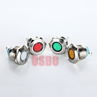 aperture lamp - A V V V Button Switch With LED Metal Indicator Light Waterproof Signal Lamp mm Aperture Red Blue Yellow Green White