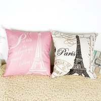 backrest pillow cover - 2016 Real Capa De Almofada Cushion Covers Eiffel Tower Style Sofa Backrest Bed Linen Cotton Pillow Office Waist Cushion Cover