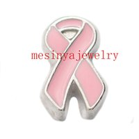 awareness glass beads - 10pcs pink ribbon cancer awareness floating charms for glass locket FC Min amount per order mixed items