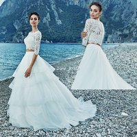 beach delivery - 2016 Two Pieces Beach Wedding Dresses Sweep Train Tiered Skirts A line Long Sleeve Bateau Neckline Bridal Wedding Gowns Fast Delivery