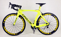 Wholesale Light Yellow design Cycling carbon Complete bike with BB30 BB68 T1000 RB1K carbon bike frameset mm carbon wheels