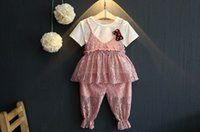 beatiful clothes - Sweet Baby Kids Clothing Girl s Clothing Sets Girl White T shirts Suspender Lace Tops Pants Sets With Brooch Beatiful Kids Outfits