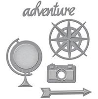 adventure holidays - DIY Globe Compass Dies Kit Cutter Sizzix Scrapbooking Albums Camera Adventure Travel Dies Cutting Template Arrow Dies Set S2201