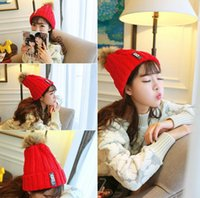 Wholesale Lady Autumn Winter Beanie Wool Knit Cap Hair Ball Top Red Black Ear Muff Head Warmer