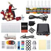 Wholesale Solong Tattoo Kit Carbon Steel Wrap Coils Shader Machine Gun Power Supply Needles Colors for Artists Beginner Tattoo Kits Y