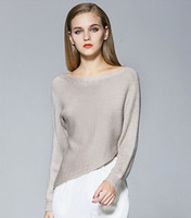Wholesale 2016 Popular Women Fashion Sweater Slash Neck Strapless Asymmetcial Thick Coarse Yarn Pink Gray Apricot Off Shoulder Knit Womens Sweaters