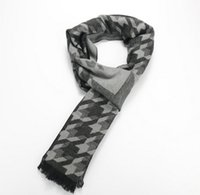 Wholesale Men Business Houndstooth Faux Cashmere Scarves Male Gift Winter Casual Wraps Thicken Warm Long Scarf CM