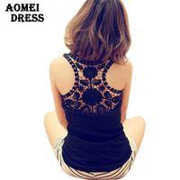 Cheap Wholesale-Free Shipping 2016 Summer Ladies' Black Lace Open Back Fashion Vest blusa de renda White Cotton Casual Sleeveless Tee Shirts