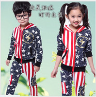 american flag outfits - 2016 Spring Autumn Children Sports Suit Boys And Girls American Flag Hoodies Pants Two Piece Suits Kids Clothing Sets Child Casual Outfits