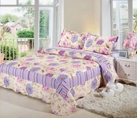 Wholesale JESSY HOME New European quilted coverlet set queen flower printed Comforter Bedding Set Bed Patchwork Quilt Bedspreads