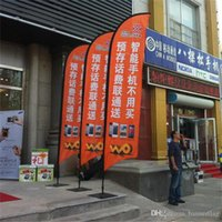 Wholesale 70x340cm Feather Beach Flags Banners Single Side Outdoor Advertising Flags Flying Banners with Screw or Spike Feet POS