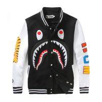 baseball style hoodies - Japanese Styles Shark Hoodies Fashion Men Women Harajuku Cool funny Cartoon Sweatershirt Jacket Black Red Baseball Coats Sportswear FXF0719